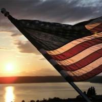we remember - flag on lake
